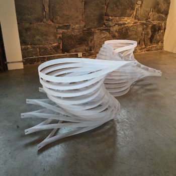 sculpture by Kim, white sanded plastic with aluminum rivets